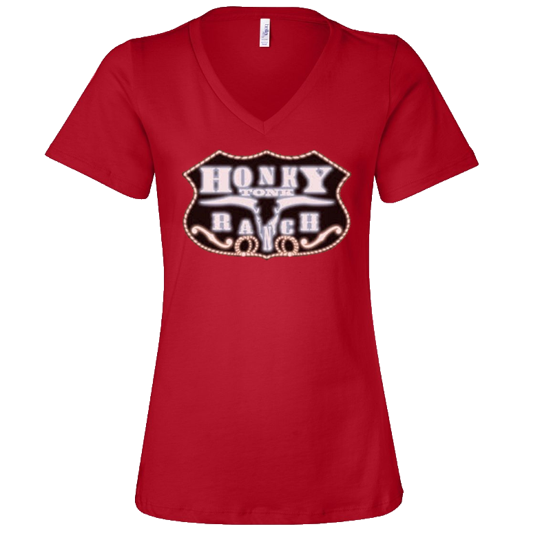 Honky Tonk Ranch Ladies Red V Neck Tee